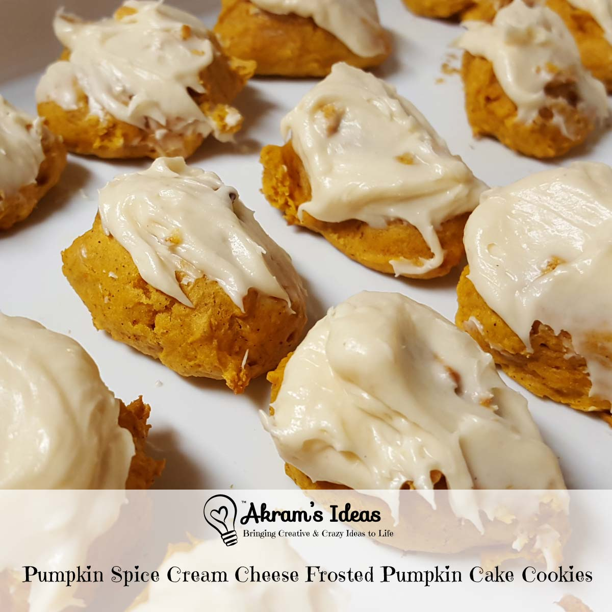 Pumpkin Spice Cream Cheese Frosted Pumpkin Cake Cookies - Akram's ...