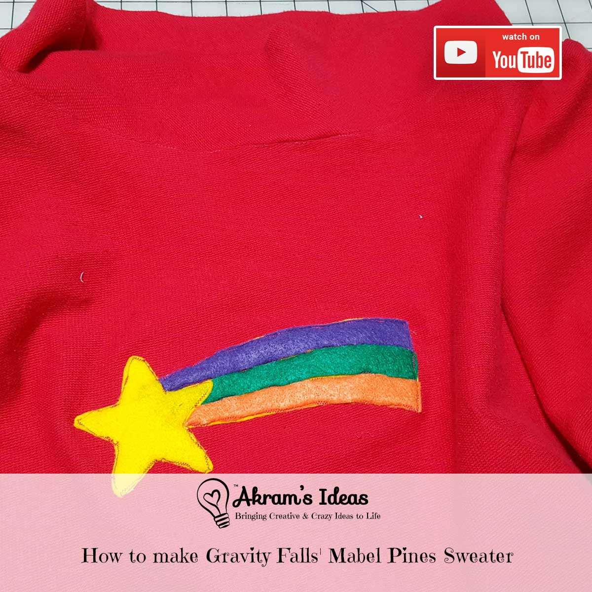 Learn the process I went through the make my Gravity Falls' Mabel Pines sweater using New Look 6145 pattern.