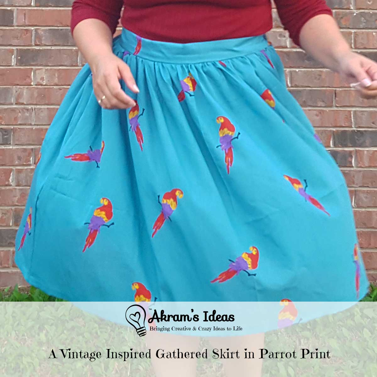 A Vintage Inspired Gathered Skirt in Parrot Print