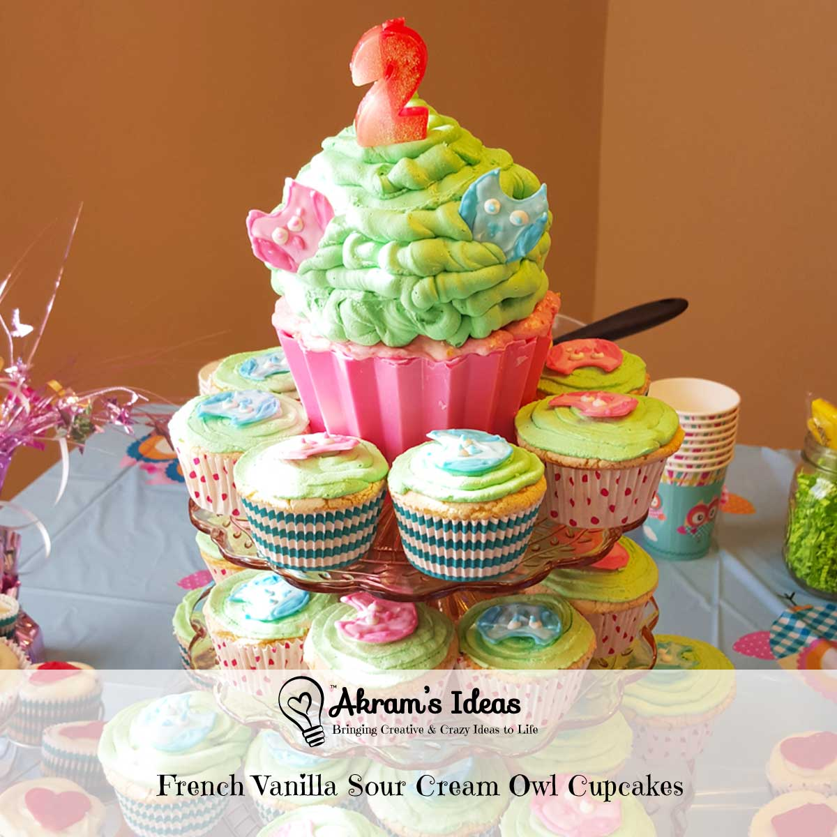 Akram's Ideas: French Vanilla Sour Cream Owl Cupcakes