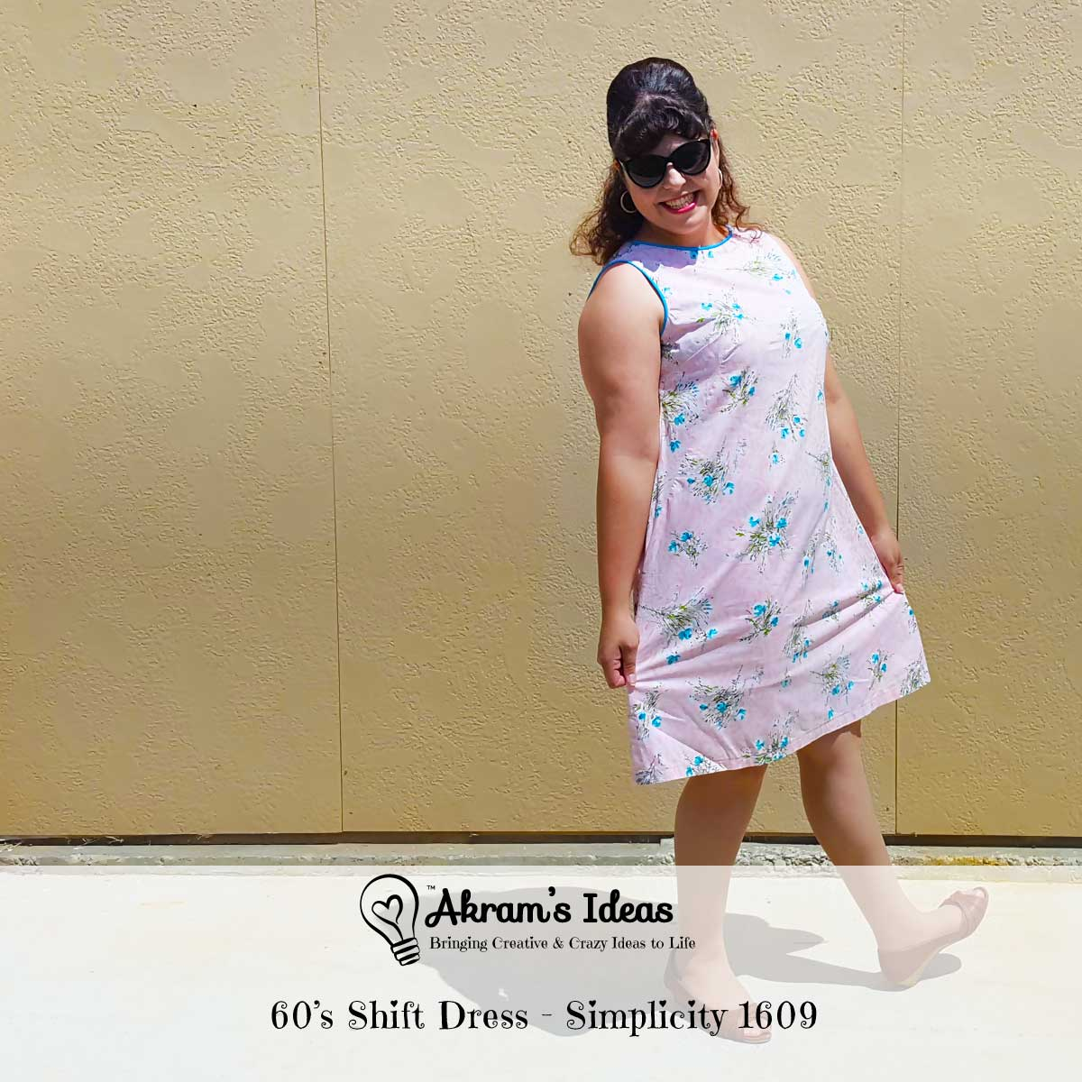 Quick review of my 60's shift dress made with a vintage floral fabric and vintage reproduction simplicity 1609 pattern.