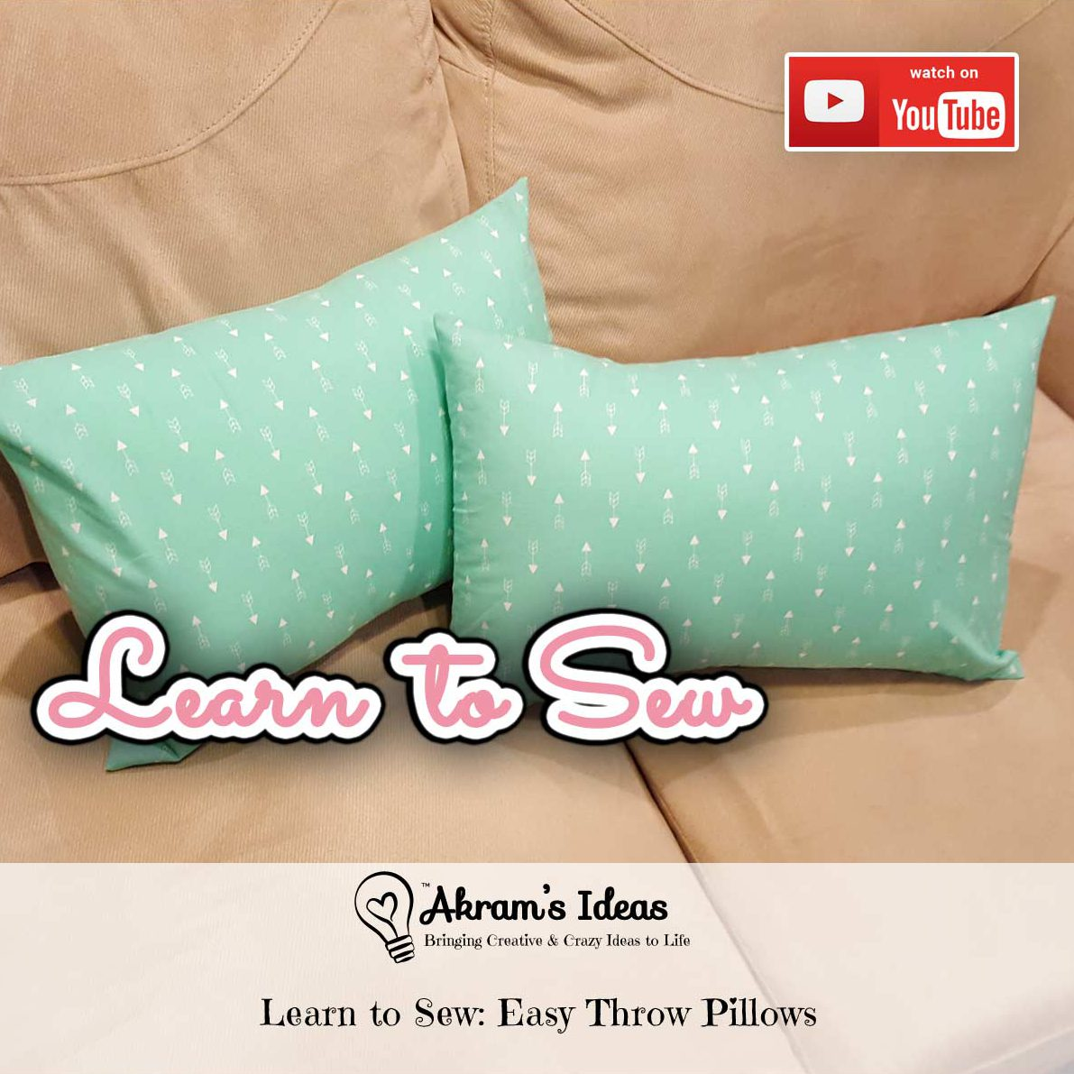 Learn to sew easy throw pillows with envelope opening. Make 2 pillows with out of 1 regular bed pillow and 1 yard of fabric.